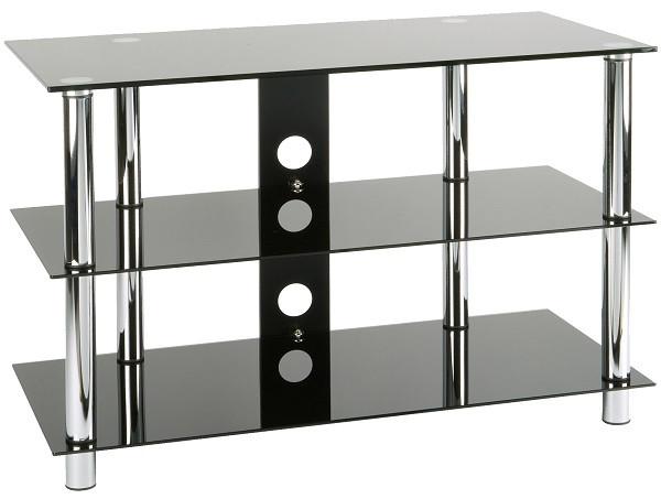 AUDIORAQ Glasmöbel Schwarzglas/chrom Metall