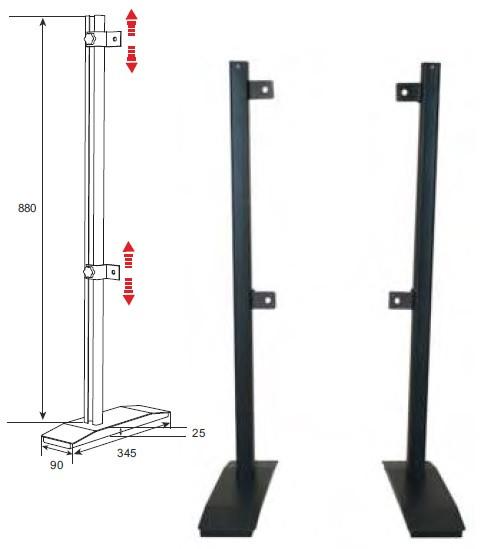 Tischfuss Twin 80, schwarz, Metall, 1 Paar/2 Stk