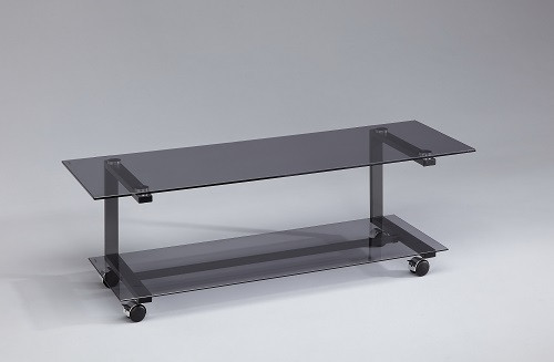 AUDIORAQ Glasmöbel Schwarzglas/grau Metall