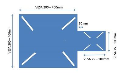 Vesa Adapter Platte, Metall, schwarz