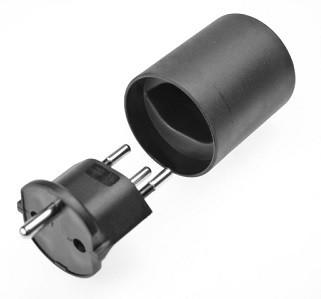 Fixadapter 3 polig, Schuko - CH, schwarz