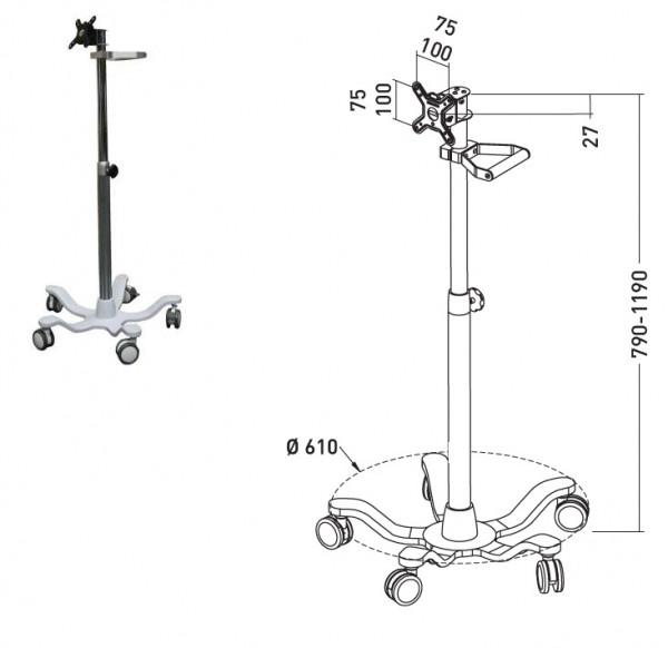 "Erard Tablet Trolley 10""-22"", Höhenverstellbar"