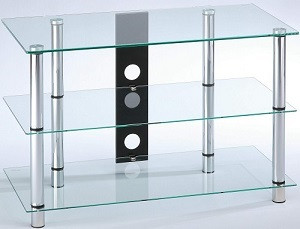 AUDIORAQ Glasmöbel, Klarglas/chrom Metall