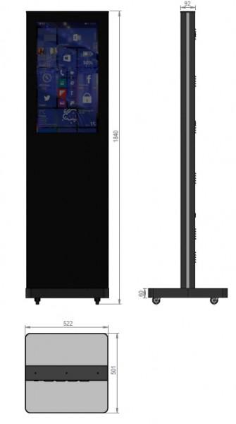 """Indoor Monitor Box, Stele Portrait, 49"""", schwarz"""